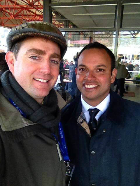 John with presenter Richi Persad outside weighroom at Cheltenham